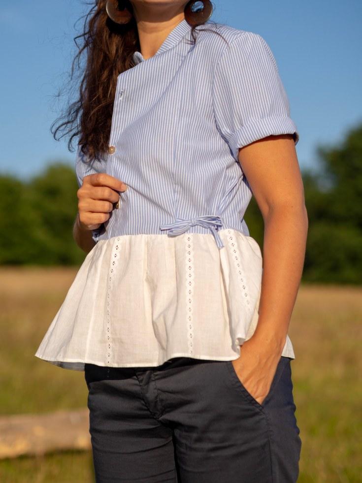 Honeycomb rolled sleeve & ties detail